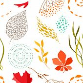 Seamless Pattern With Falling Leaves. Natural Illustration Of Autumn Foliage. poster