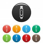 Mini Usb Icon. Simple Illustration Of Mini Usb Icons Set Color Isolated On White poster