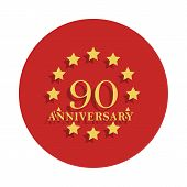 90 Anniversary Sign. Element Of Anniversary Sign. Premium Quality Graphic Design Icon In Badge Style poster