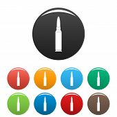 Single Bullet Icon. Simple Illustration Of Single Bullet Icons Set Color Isolated On White poster