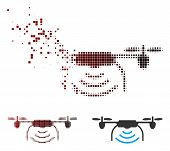 Vector Radio Transmitter Airdrone Icon In Dispersed, Pixelated Halftone And Undamaged Entire Version poster