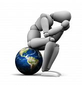 image of dread head  - 3D illustration of person sitting on Earth globe holding head in hands - JPG