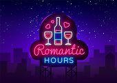 Romantic Dinner Neon Sign Vector. Romantic Hour Logotype, Emblem In Modern Trend Design, Vector Temp poster