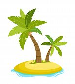 Tropical Palm On Island With Sea Waves Vector Illustration Isolated White Background. Beach Under Pa poster