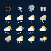 Weather Icons Sun And Clouds In Sky, Rain With Snow, Thunder And Lightning At Hurricane. Flat Vector poster
