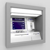 stock photo of automatic teller machine  - Automated teller machine on gray background - JPG