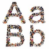 Collection Of A Large Group Of People Forming The Letter A And B In Both Upper And Lower Case Isolat poster