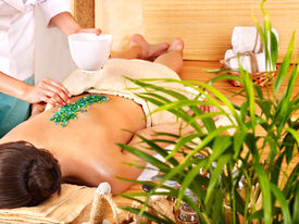 picture of thai massage  - Young woman getting salt massage - JPG