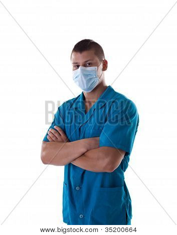 Athletic man like medical orderly isolated