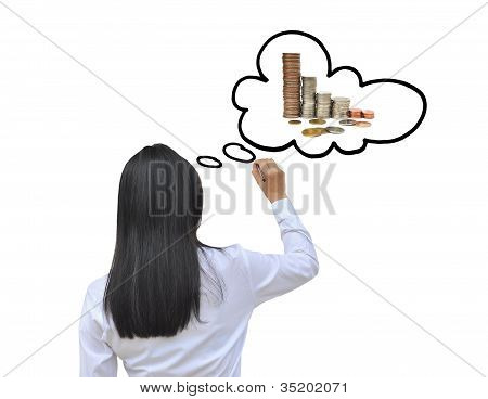 working woman hand drawing think to money