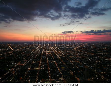 Chicago Sunset From Sears Tower