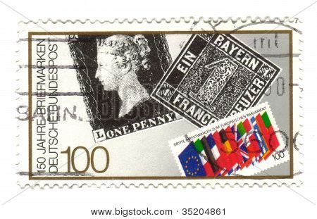 Germany - Circa 1990: A Stamp Printed In Germany Honoring 150 Years German Postal Stamps, Circa 1990