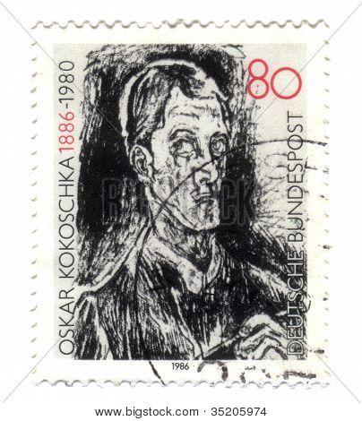 Germany - Circa 1986: A Stamp Printed In Germany, Shows Bach Contata, Detail, By Oskar Kokoschka, Ci