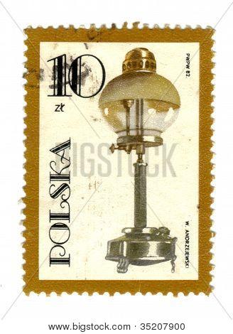 Poland - Circa 1982: Postage Stamp Shows Vintage Kerosene Lamp, Series, Circa 1982