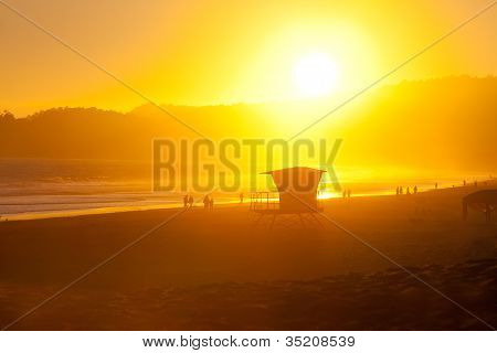 Beautiful Sunset Beach Summer Scene