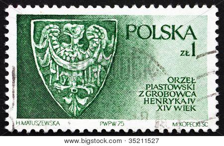 Postage stamp Poland 1975 Piast Family Eagle
