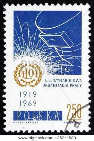 Máscara de estampilla Polonia 1969 OIT emblema y del soldador