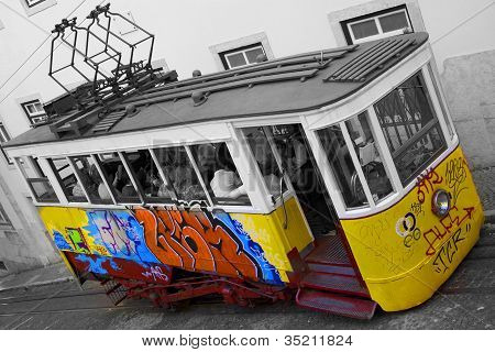 Painted Tram At Elevador da Gloria