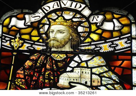 Stained glass window of King David I