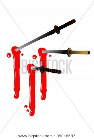 Ninja Swords With Blood