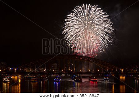 Firework In Red And White Colors