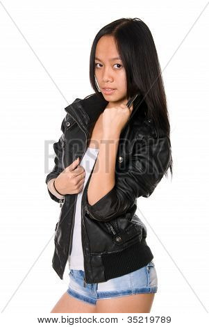 Portrait Of The Brunette In A Leather Jacket