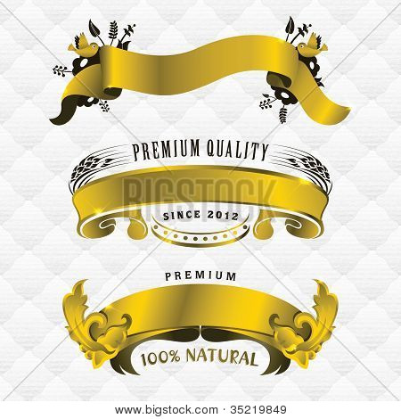 Three gold ribbon banners with seamless upholstery texture