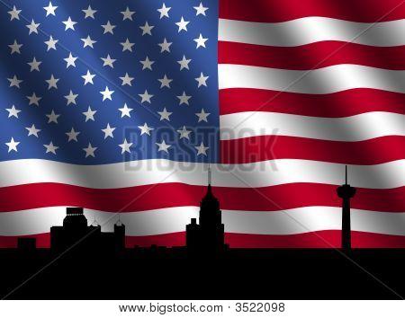 San Antonio Skyline With Flag