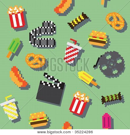 seamless vector retro pixel game movie pattern
