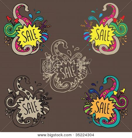 Sale ornament doodle vector tag
