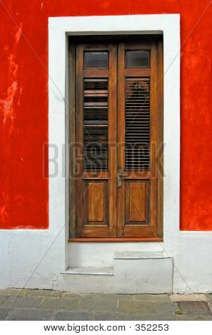 Red Wall And Door