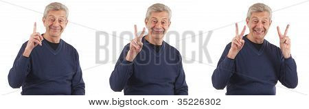 Series Of Man Holding Up One, Two, And Three Fingers