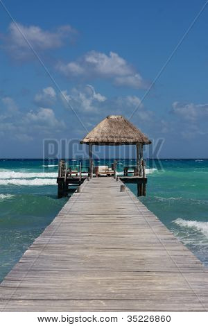 Jetty With Beach Hut At Perfect Caribbean Beach