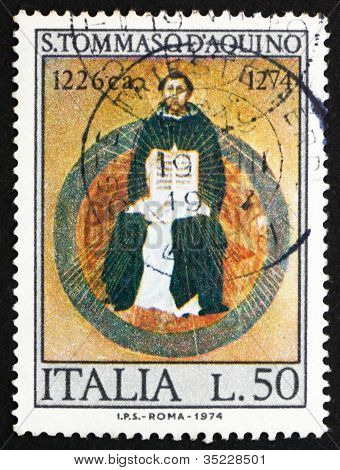 Postage stamp Italy 1974 St. Thomas Aquinas, by Francesco Traini