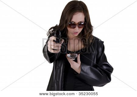 Young woman with gun