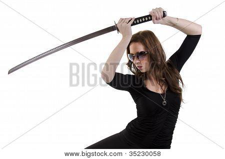 Young woman with katana