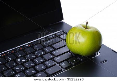 Apple On Laptop Keyboard