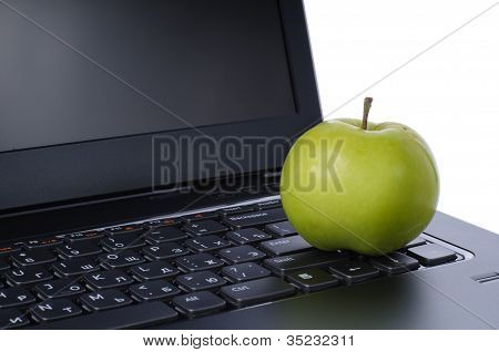 Apple On Laptop Keyboard