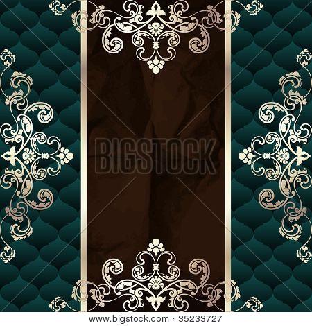 Dark green vintage banner with metallic ornaments