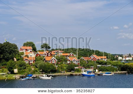 Red Cottages In Brändaholm , Sweden