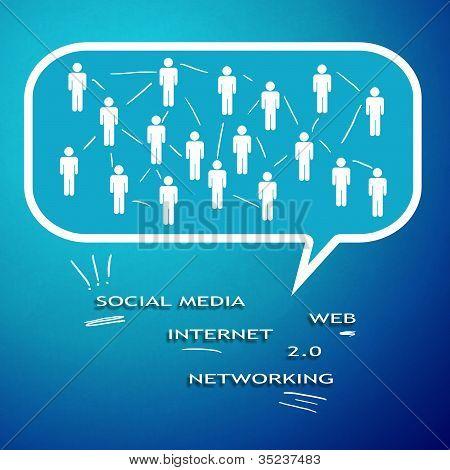Social Media und Netzwerk-Diagramm