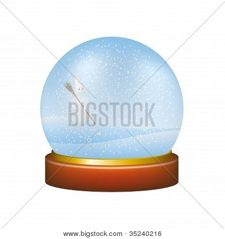 Snow globe with winter landscape and snowman