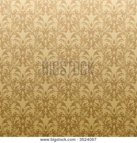 Papel pintado de flores oro