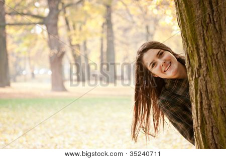 Look on me - autumn woman portrait