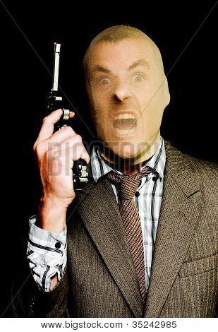 Crazy Paranoid Bandit Holding A Gun