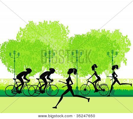 Silhouette Of Marathon Runner And Cyclist Race