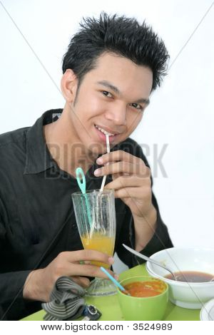 University Student Having Lunch At Cafe Ar Canteen