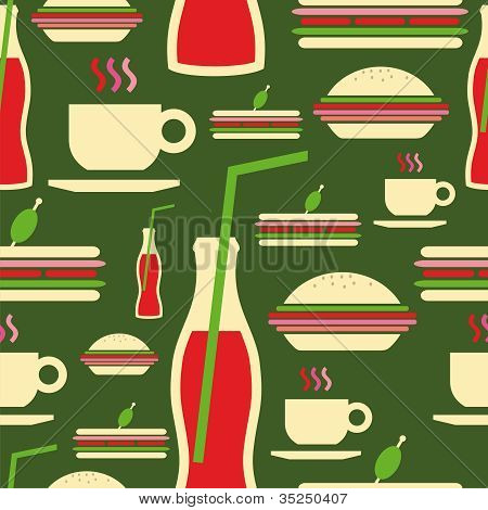 Grunge Fast Food Icons Set Pattern