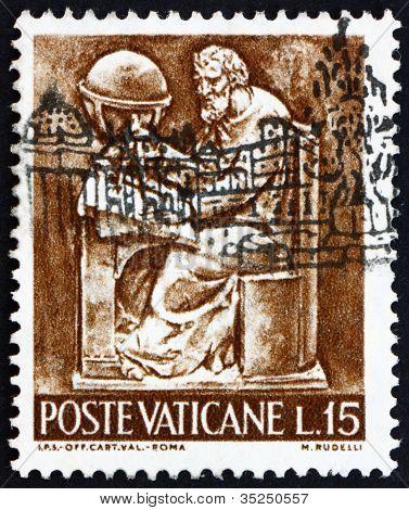 Postage stamp Vatican 1966 Cartographer, Bas-relief by Mario Rud