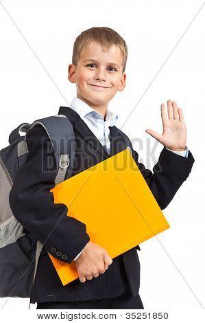 Schoolboy With Orange Book